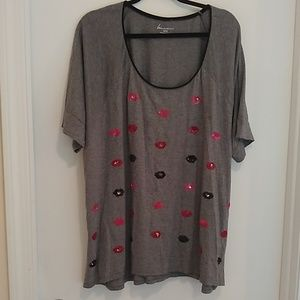 Lane Bryant grey sequined lips t-shirt